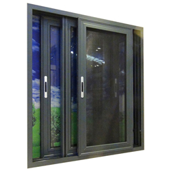tempered glass aluminum sliding window with transom-A