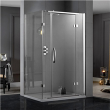 Tempered stainless steel frameless stopper sliding glass shower door