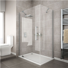 Sliding Shower Door With Aluminium Frame, Polished Tempered Glass