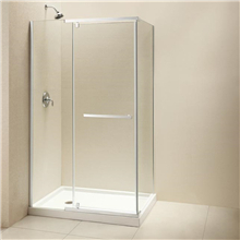 Decorative bubble pattern sliding glass shower door