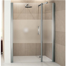 Simple style corner shower room with pulling open glass shower door