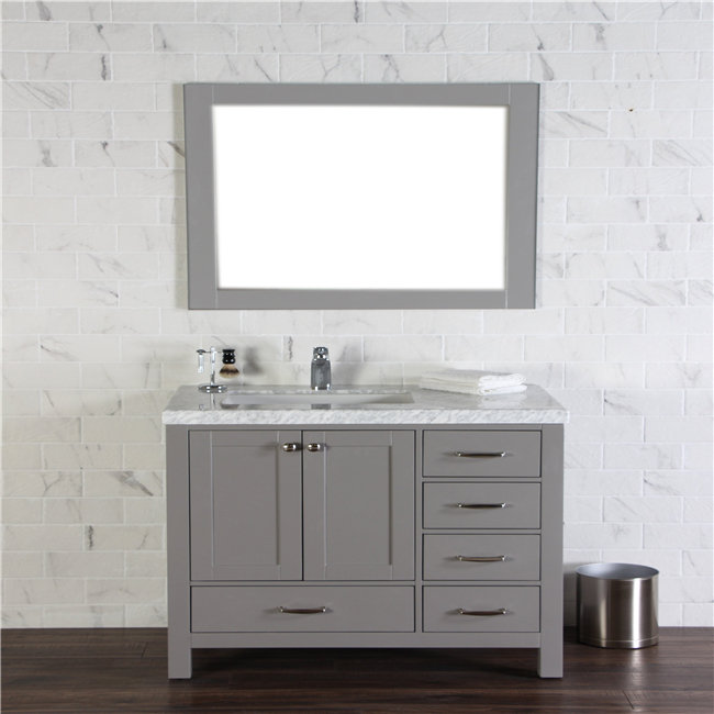 Beautiful Simple White Integral Single Sink Bathroom Vanity With Cultured Marble Top