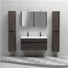 European style modern Wall Mounted Double sink Bathroom Vanity with mirror cabinet sets