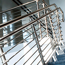 Stairs spiral stairs with glass or wooden tread and steel rod railing