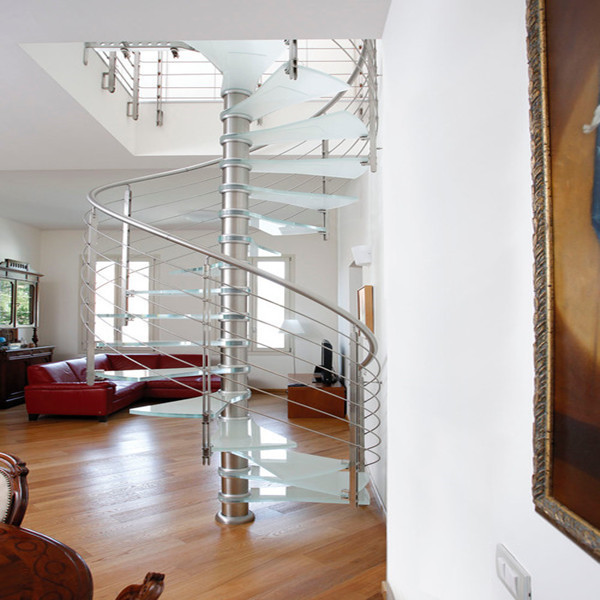 J-metal mono stair stringer only glass stair case