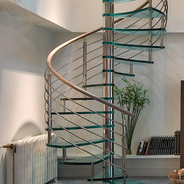 J- pvc stairs handrail stainless steel spiral stair
