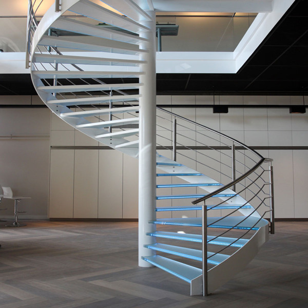 J-glass stair handrail outdoor stair lighting