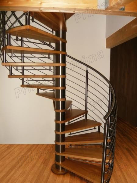 J-spiral handrail stairs wood stair treads