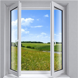 Aluminium door and windows black color finish double safety glass aluminium casement window for home design-A