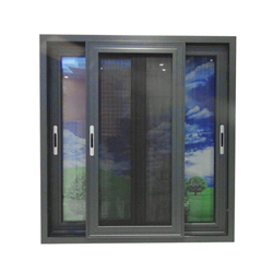 Wood grain Color Aluminum window Frames And Double Glass Design-A